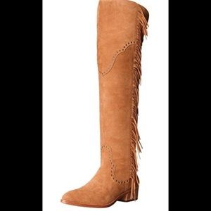 FRYE Women's Ray Fringe OTK Slouch Boot, Camel